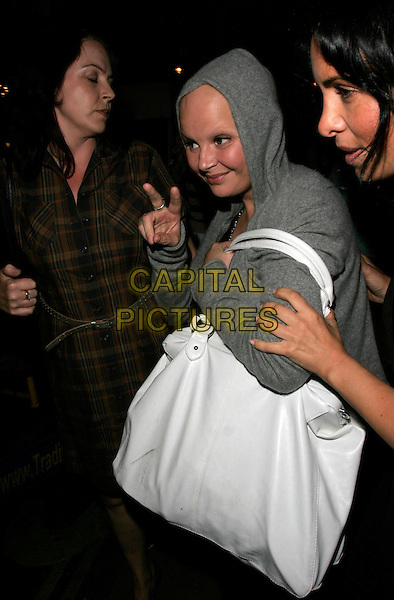 GAIL PORTER.The Rushes Soho Short Film Festival Awards Party, Cafe De Paris, London, England..August 2nd, 2007.half length grey gray hooded top hoodie hoody white oversized large big bag purse.CAP/AH.©Adam Houghton/Capital Pictures