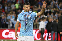 Sergio Aguero of Manchester City waves to fans after winning the Capital One Cup after beating Liverpool on penalties at Wembley Stadium, London, England on 28 February 2016. Photo by David Horn / PRiME Media Images.