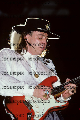 Stevie Ray Vaughan - performing live at The Pier in New York City USA - August 15,1987.  Photo credit: Ebet Roberts / IconicPix