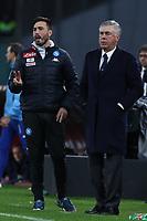 Davide Ancelotti Allenatore in seconda Napoli e Carlo Ancelotti Napoli<br /> Napoli 22-12-2018  Stadio San Paolo <br /> Football Campionato Serie A 2018/2019 <br /> Napoli - Spal<br /> Foto Cesare Purini / Insidefoto
