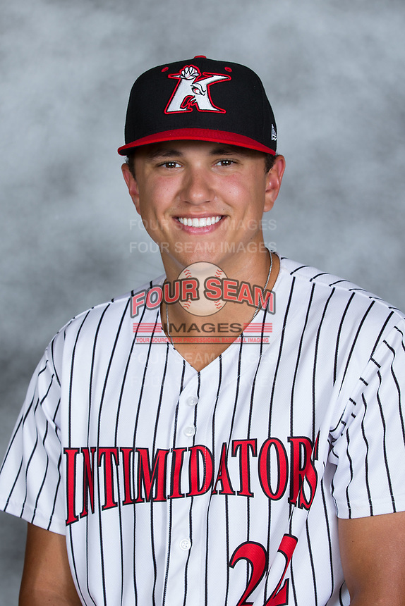 Kannapolis Intimidators pitcher Tyler Johnson (22) poses for a photo prior to the game against the Columbia Fireflies at Kannapolis Intimidators Stadium on July 22, 2017 in Kannapolis, North Carolina.  The Fireflies defeated the Intimidators 4-0.  (Brian Westerholt/Four Seam Images)