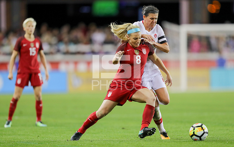 San Jose, CA - Sunday November 12, 2017: Julie Ertz, Christine Sinclair during an International friendly match between the Women's National teams of the United States (USA) and Canada (CAN) at Avaya Stadium.