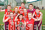 Pupils from Fossa NS who won the All Ireland Spikeball championship in Limerick last Wednesday front l-r:  Sarah O'Neill, Killian Buckley, Aoife Doody. Back row: Ruairi Doyle, Ellen Sheehan, Richard Wallace, Anna Clifford, Mr Finnegan and  William O'Brien