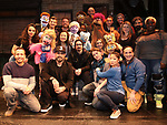 "Howie Dorough, AJ McLean and Kevin Richardson from the Backstreet Boys backstage with the cast and crew of  ""Avenue Q""  at the New World Stages on January 27, 2019 in New York City."