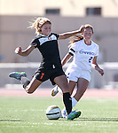 Douglas' McKenna Kynett scores her second goal of the game against the Senators at Carson High School in Carson City, Nev., on Saturday, Oct. 10, 2015. Douglas won 2-1.  <br /> Photo by Cathleen Allison