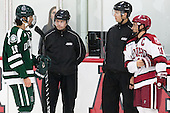 Tyler Sikura (Dartmouth - 16), Marty Hughes, Scott Wheeler, Kyle Criscuolo (Harvard - 11) - The Harvard University Crimson tied the visiting Dartmouth College Big Green 3-3 in both team's first game of the season on Saturday, November 1, 2014, at Bright-Landry Hockey Center in Cambridge, Massachusets.