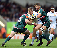 Stuart Townsend of Exeter Chiefs is double-tackled. Aviva Premiership match, between Leicester Tigers and Exeter Chiefs on September 30, 2017 at Welford Road in Leicester, England. Photo by: Patrick Khachfe / JMP