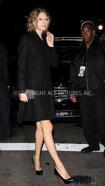 WWW.ACEPIXS.COM . . . . . ....December 8 2009, New York City....Singer Taylor Swift arriving at the launch of VEVO, a new music and video website, at Skylight Studio on December 8, 2009 in New York City.....Please byline: KRISTIN CALLAHAN - ACEPIXS.COM.. . . . . . ..Ace Pictures, Inc:  ..tel: (212) 243 8787 or (646) 769 0430..e-mail: info@acepixs.com..web: http://www.acepixs.com