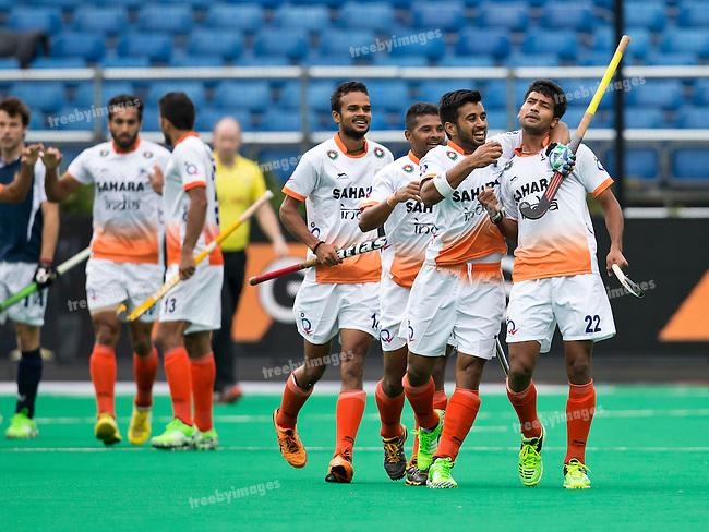 20/06/2015<br /> HWL Semi Final Antwerp Belgium 2015<br /> France v India Men<br /> India celebrate a goal by Devindar Walmiki <br /> Photo: Grant Treeby