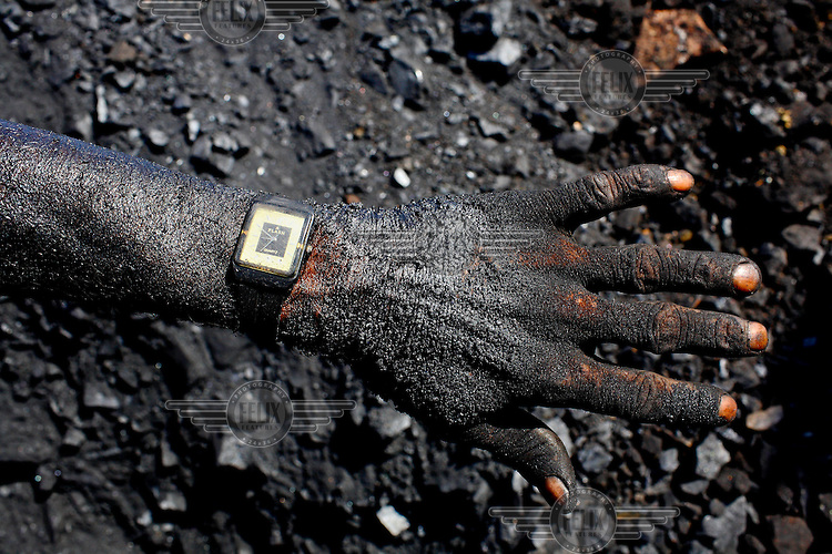 The hand and forearm of a contract labourer at an open cast coal mine is coated in thick black coal dust. After carrying baskets of rock coal for 10 - 12 hours per day he'll earn less than GBP 2.20. /Felix Features