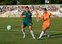 Saint Louis Athletica defender Nikki Cross (19) and Sky Blue FC defender Keeley Dowling (17) during a WPS match at Anheuser Busch Soccer Park, in St. Louis, MO, July 22 2009. Athletica won the match 1-0.
