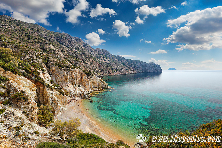 The beach Vroulidia in Chios island, Greece