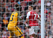1st October 2017, Emirates Stadium, London, England; EPL Premier League Football, Arsenal versus Brighton; Alexis Sanchez of Arsenal jostles with Gaetan Bong of Brighton during an Arsenal corner