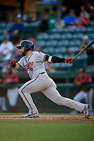 Richmond Flying Squirrels left fielder Matt Lipka (9) follows through on a swing during a game against the Altoona Curve on May 15, 2018 at Peoples Natural Gas Field in Altoona, Pennsylvania.  Altoona defeated Richmond 5-1.  (Mike Janes/Four Seam Images)