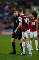 30th November 2019; Turf Moor, Burnley, Lanchashire, England; English Premier League Football, Burnley versus Crystal Palace; Referee Peter Bankes has words with Ashley Barnes of Burnley - Strictly Editorial Use Only. No use with unauthorized audio, video, data, fixture lists, club/league logos or 'live' services. Online in-match use limited to 120 images, no video emulation. No use in betting, games or single club/league/player publications