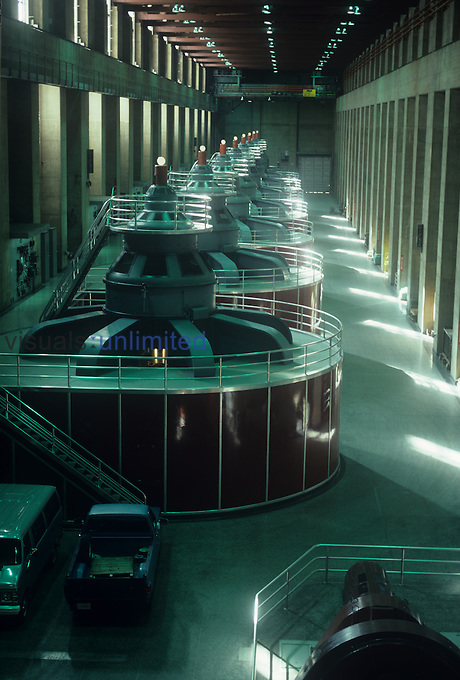 Hydroelectric generators inside Hoover Dam on the Colorado River, Nevada and Arizona border, USA. This is a National Historic Landmark.