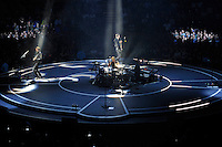 LONDON, ENGLAND - APRIL 3: Matt Bellamy, Chris Wolstenholme, Dominic Howard of 'Muse' performing at the O2 Arena on April 3, 2016 in London, England.<br /> * Press use only. No merchandising *<br /> CAP/MAR<br /> &copy;MAR/Capital Pictures /MediaPunch ***NORTH AND SOUTH AMERICAS ONLY***