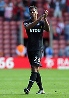 Kyle Naughton of Swansea City thanks away supporters at the end of the game during the Premier League match between Southampton and Swansea City at the St Mary's Stadium, Southampton, England, UK. Saturday 12 August 2017