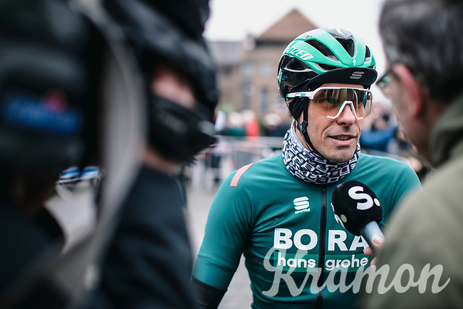 Daniel Oss (ITA/Bora Hansgrohe) pre race Sporza interview<br /> <br /> GP Monseré 2020<br /> One Day Race: Hooglede – Roeselare 196.8km. (UCI 1.1)<br /> Bingoal Cycling Cup 2020