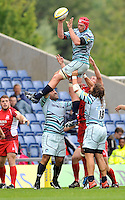 Oxford, England. Rob Andrew of Leicester Tigers wins the line out during the Aviva Premiership match between London Welsh  and Leicester Tigers at Kassam Stadium on September 2, 2012 in Oxford, England.