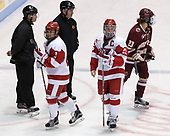 Marty Hughes, Natalie Flynn (BU - 21), Wayne Silva, Alexis Crossley (BU - 25), Andie Anastos (BC - 23) - The Boston College Eagles defeated the Boston University Terriers 3-2 in the first round of the Beanpot on Monday, January 31, 2017, at Matthews Arena in Boston, Massachusetts.
