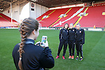 (L to R) Sheffield United Ladies Jodie Hartley, Kimberley Brown and Jennifer Pearson pose for a photo during the FA Women's Cup First Round match at Bramall Lane Stadium, Sheffield. Picture date: December 4th, 2016. Pic Clint Hughes/Sportimage