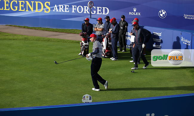 Jim Furyk (USA) tees off from the first during the 2014 Ryder Cup from Gleneagles, Perthshire, Scotland. Picture:  David Lloyd / www.golffile.ie