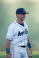 Everett AquaSox third baseman Bobby Honeyman (3) during a Northwest League game against the Tri-City Dust Devils at Everett Memorial Stadium on September 3, 2018 in Everett, Washington. The Everett AquaSox defeated the Tri-City Dust Devils by a score of 8-3. (Zachary Lucy/Four Seam Images)