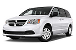 Stock pictures of low aggressive front three quarter view of 2017 Dodge Grand-Caravan SE 5 Door Minivan Low Aggressive