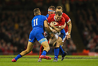 1st February 2020; Millennium Stadium, Cardiff, Glamorgan, Wales; International Rugby, Six Nations Rugby, Wales versus Italy; Hadleigh Parkes of Wales is tackled by Andrea Lovotti and Mattia Bellini of Italy