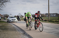 race leaders Greg Van Avermaet (BEL/BMC), Sep Vanmarcke (BEL/Cannondale-Drapac) &amp; Peter Sagan (SVK/Bora-Hansgrohe) racing for the podium<br /> <br /> 72nd Omloop Het Nieuwsblad 2017