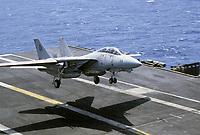 "- US Navy, Nimitz aircraft carrier, landing of a F 14 ""Tomcat"" fighter aircraft <br /> <br /> - US Navy, portaerei Nimitz, appontaggio di un aereo da caccia F 14 ""Tomcat"""