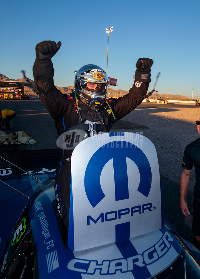 Nov 3, 2019; Las Vegas, NV, USA; NHRA funny car driver Matt Hagan celebrates after winning the Dodge Nationals at The Strip at Las Vegas Motor Speedway. Mandatory Credit: Mark J. Rebilas-USA TODAY Sports