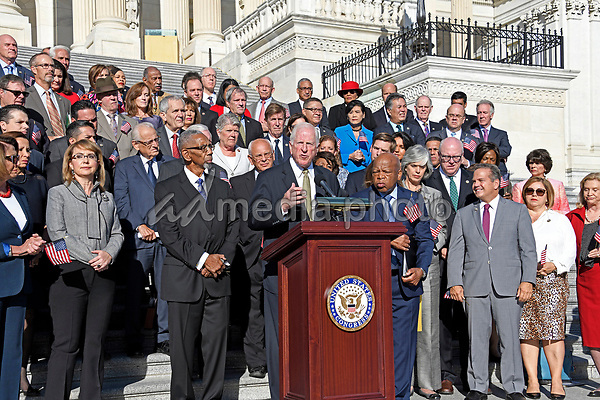 Former United States Representative Mike Thompson (Democrat of California) makes remarks as US House Democrats appear on the East Steps of the US Capitol to make a statement against gun violence in the wake of the Las Vegas Massacre in Washington, DC on Wednesday, October 4, 2017. Photo Credit: Ron Sachs/CNP/AdMedia