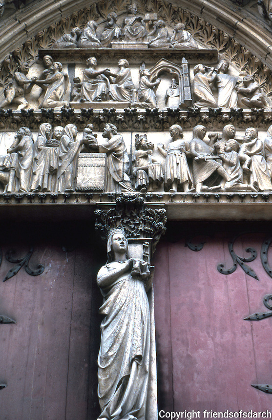 Paris: Notre Dame--Typanum, Cloister Portal in North Transept. About 1250 by Jean of Chelles who had worked on Sainte-Chapelle. Above, scenes from mystery play; below, Life of the Virgin. Photo '90.