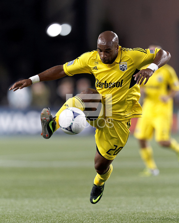 Columbus Crew substitute forward Emilio Renteria (20) controls the ball. In a Major League Soccer (MLS) match, the New England Revolution defeated Columbus Crew, 2-0, at Gillette Stadium on September 5, 2012.