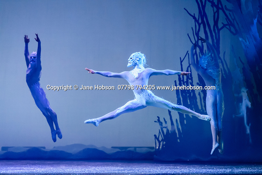 Scottish Ballet presents the world premiere of The Snow Queen, at the Festival Theatre. The work is choreographed by Christopher Hampson, to the music of Rimsky-Korsakov, with set and costume design by Lez Brotherston, and lighting design by Paul Pyant.  The cast is: Constance Devernay (Snow Queen), Bethany Kingsley-Garner (Gerda), Andrew Peasgood (Kai), Kayla-Maree Tarantolo (Lexi). The picture shows: The Company.