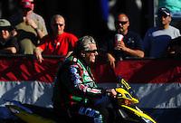 Feb. 9, 2012; Pomona, CA, USA; NHRA funny car driver John Force during qualifying at the Winternationals at Auto Club Raceway at Pomona. Mandatory Credit: Mark J. Rebilas-