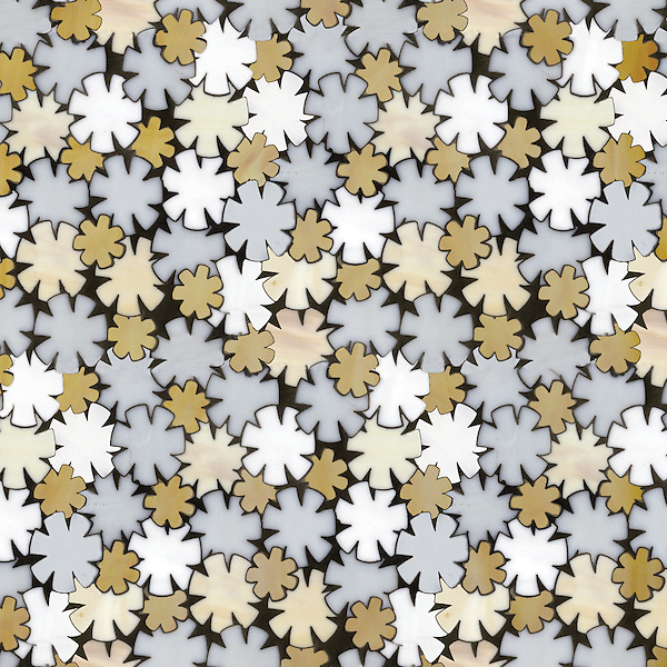 Flowers, a waterjet jewel glass, mosaic, shown in Opal, Moonstone, Agate and Amber, is part of the Erin Adams Collection for New Ravenna Mosaics.