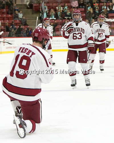 Jimmy Vesey (Harvard - 19), Colin Blackwell (Harvard - 63), Brayden Jaw (Harvard - 10) - The Harvard University Crimson defeated the visiting Brown University Brown Bears 5-2 (EN) on Saturday, November 7, 2015, at Bright-Landry Center in Boston, Massachusetts.