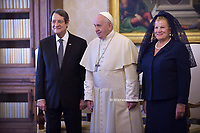 Pope Francis  Cyprus' President Nicos Anastasiades upon his arrival for a private audience at the Vatican on November 18, 2019.