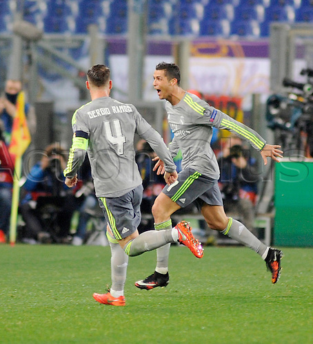 17.02.2016. Stadio Olimpico, Rome, Italy. UEFA Champions League, Round of 16 - first leg, AS Roma versus Real Madrid.  Real madrid celebrations after the goal from Cristiano Ronaldo