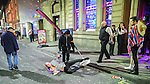 © Joel Goodman - 07973 332324 . 27/12/2016 . Wigan , UK . Doormen ejects a man from Reflex nightclub . Revellers in Wigan enjoy Boxing Day drinks and clubbing in Wigan Wallgate . In recent years a tradition has been established in which people go out wearing fancy-dress costumes on Boxing Day night . Photo credit : Joel Goodman