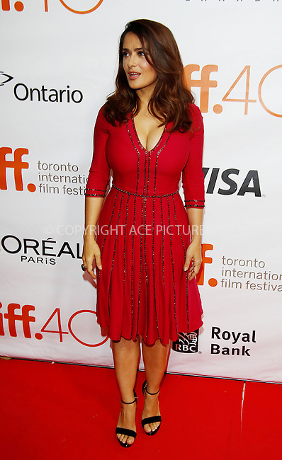 WWW.ACEPIXS.COM<br /> <br /> September 14 2015, Toronto<br /> <br /> Salma Hayek attending the premiere of Septembers of Shiraz during the 40th Toronto International Film Festival, TIFF, at Roy Thomson Hall in Toronto, Canada<br /> <br /> By Line: Famous/ACE Pictures<br /> <br /> <br /> ACE Pictures, Inc.<br /> tel: 646 769 0430<br /> Email: info@acepixs.com<br /> www.acepixs.com