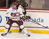 Luke McInnis (BC - 3), Mathieu Tibbet (Merrimack - 22) - The visiting Merrimack College Warriors defeated the Boston College Eagles 6 - 3 (EN) on Friday, February 10, 2017, at Kelley Rink in Conte Forum in Chestnut Hill, Massachusetts.