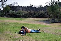 """The sculpture """"Serpientes del Padregal"""" by Federico Silva in the sculptural garden of the UNAM (Universidad Autonoma de Mexico).  Mexico City, Mexico"""