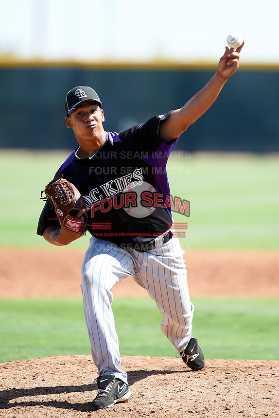 Colorado Rockies minor league pitcher Tony Seise #46 during an instructional league intrasquad game at the Salt River Flats Complex on October 5, 2012 in Scottsdale, Arizona.  (Mike Janes/Four Seam Images)