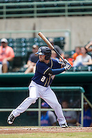 San Antonio Missions third baseman Casey McElroy (2) at bat during the Texas League baseball game against the Midland RockHounds on June 28, 2015 at Nelson Wolff Stadium in San Antonio, Texas. The Missions defeated the RockHounds 7-2. (Andrew Woolley/Four Seam Images)