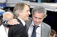 Real Madrid's coach Jose Mourinho and Manchester City's coach Roberto Mancini during Champions League match. September 18, 2012. (ALTERPHOTOS/Alvaro Hernandez). /NortePhoto.com<br /> <br /> **CREDITO*OBLIGATORIO** *No*Venta*A*Terceros*<br /> *No*Sale*So*third* ***No*Se*Permite*Hacer Archivo***No*Sale*So*third<br /> <br /> <br /> **CREDITO*OBLIGATORIO** *No*Venta*A*Terceros*<br /> *No*Sale*So*third* ***No*Se*Permite*Hacer Archivo***No*Sale*So*third