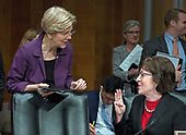 United States Senators Elizabeth Warren (Democrat of Massachusetts), left, and Susan Collins (Republican of Maine), right, meet before the hearing for R. Alexander Acosta, Dean of Florida International University College of Law and US President Donald J. Trump's nominee for US Secretary of Labor confirmation hearing before the US Senate Committee on Health, Education, Labor & Pensions on Capitol Hill in Washington, DC on Wednesday, March 22, 2017.<br /> Credit: Ron Sachs / CNP